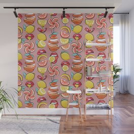 Pop art citrus addiction // blush pink background red lips yellow and orange lemons and citrus fruits Wall Mural