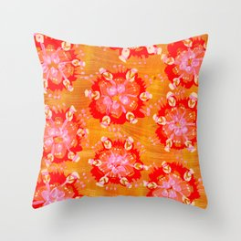 Apricot Calliope Rose Throw Pillow