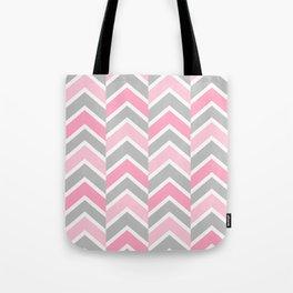 Pink Gray Chevron Tile Tote Bag