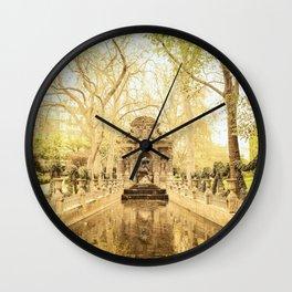 Paris - Springtime - Beautiful Fountain Wall Clock
