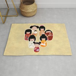 Kokeshi in Reds & Golds Rug