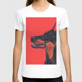 Eva the Dobermann on a Bloody red background T-shirt