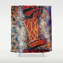 raptors 3,champion,basketball,gold,poster,wall art,2019,winners,NBA,finals,toronto,canada,painting Shower Curtain