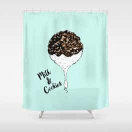 Cute Hand Drawn Foodie Cookies and Milk Shower Curtain