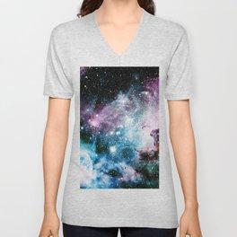 Carina Nebula : Vivid Blue Fuchsia and Red Unisex V-Neck