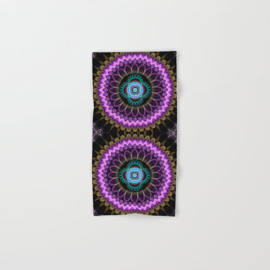 Groovy mandala with fantasy flower and tribal patterns Hand & Bath Towel