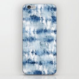 Modern hand painted dark blue tie dye batik watercolor iPhone Skin