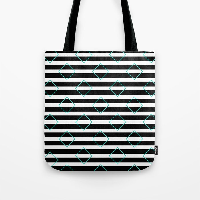 Black and White Stripes And Cyan Blue Squares Pattern Tote Bag