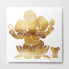 Golden Ganesha Metal Print