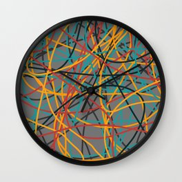 Colored Line Chaos #6 Wall Clock