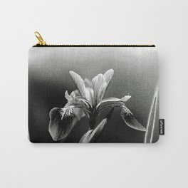 Beautiful Blue Flag Iris in black and white Carry-All Pouch