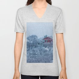 Red house lost in a snowy storm Unisex V-Neck