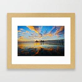 Huntington Beach Pier Sunset ~ Huntington Beach Pier CA  Framed Art Print