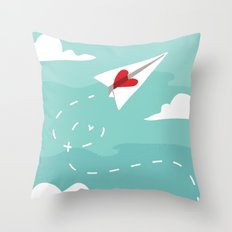 Love Letter Airplane Throw Pillow