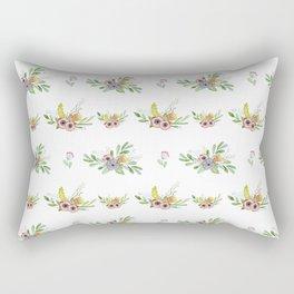 Modern coral yellow green watercolor cute flowers Rectangular Pillow