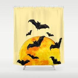 BLACK FLYING BATS FULL MOON ART Shower Curtain