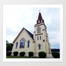 Church under Cloudy Skies Art Print