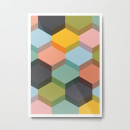 Colorful Hexagon Abstract Metal Print