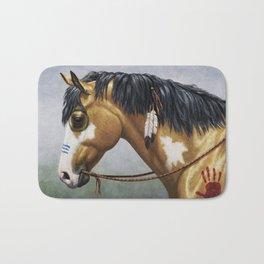 Native American Buckskin Pinto War Horse Bath Mat