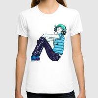 headphones T-shirts featuring Headphones Girl by Bexar Bellamy