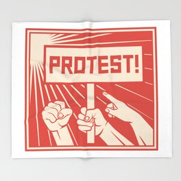 protest design - lots of furious people (man holding transparent, demonstrations) Throw Blanket