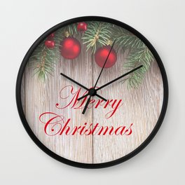 Merry Christmas Garland, Berries & Ornaments on Weathered Wood Wall Clock
