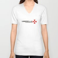 resident evil V-neck T-shirts featuring UMBRELLA COOPERATION T SHIRT TOP TEE TSHIRT RESIDENT EVIL ATHLETIC LOGO SLOGAN by jekonu