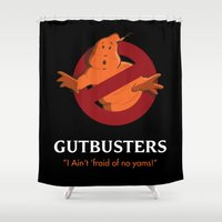ghostbusters Shower Curtains featuring Thanksgiving-themed Ghostbusters (Gutbusters) Movie Poster by David Owen Breeding