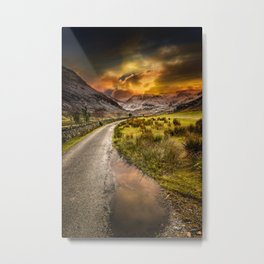 Valley Sunset Snowdonia Metal Print