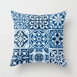 Classic Blue Tiles Throw Pillow