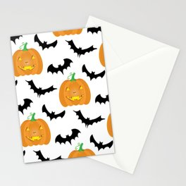 Halloween Pumpkins and Bats Stationery Cards