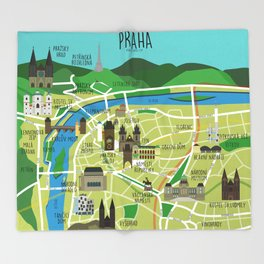 Prague map illustrated Throw Blanket