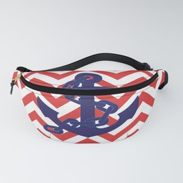 Blue Anchor on Red and White Chevron Pattern Fanny Pack