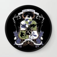 how to train your dragon Wall Clocks featuring Dragon Training Crest - How to Train Your Dragon by CaptainLaserBeam