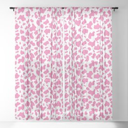 Strawberry cow print pattern Sheer Curtain