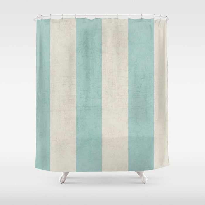 Vintage Robins Egg Blue Stripes Shower Curtain