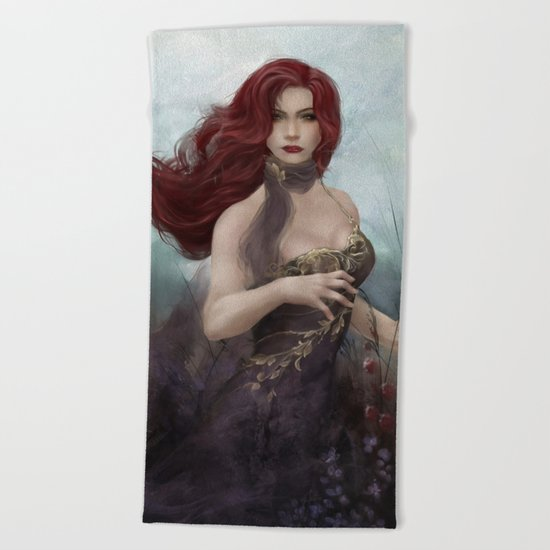 Gone - Portrait of a beautiful redhead girl Beach Towel