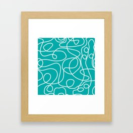 Doodle Line Art | White Lines on Teal Green Framed Art Print