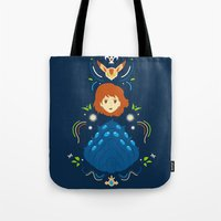 nausicaa Tote Bags featuring Wind Valley by Ashley Hay