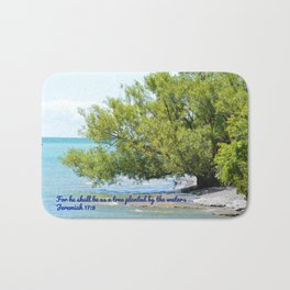 Tree By The Water With Scripture Quote Bath Mat
