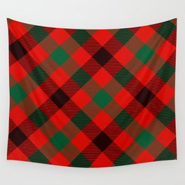 Red Plaid with Diagonal Green and Black Stripes Wall Tapestry