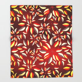 Duo-Toned Leaf pattern 2 (Red) Throw Blanket