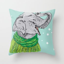 Merry Christmas New Year's card design Elephant head with a raised trunk in a knitted sweater Throw Pillow