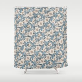 Water Swingers in Cream ( leafy sea dragon in blue and cream ) Shower Curtain