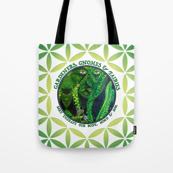 Garden Guardian Gnome in Spring Greens Tote Bag