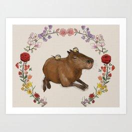 Capybara in Flower Wreath Art Print