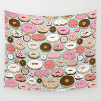donut Wall Tapestries featuring Donut Wonderland by Kristin Nohe Juchs