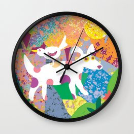 Roosting Bird and Dog Wall Clock