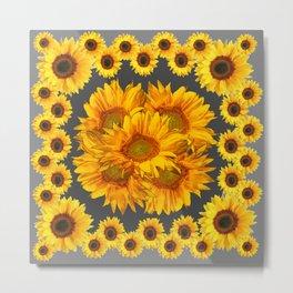 Ornate Charcoal Grey Sunflowers Pattern Metal Print