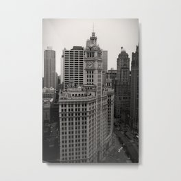 Wrigley Building Chicago Black and White Photo Metal Print